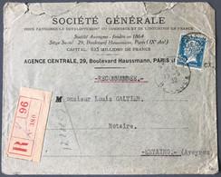 France N°181 Pérforé S.G. (société Générale) Sur Enveloppe Recommandée 10.5.1932 - (C1557) - 1921-1960: Periodo Moderno
