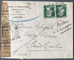 France N°171 (x2) Sur Enveloppe (LSC), Voir Texte Au Dos De L'agent Des Rebuts - (C1558) - 1921-1960: Periodo Moderno