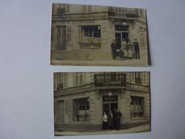 2 CARTES PHOTO A IDENTIFIER,SALON DE COIFFURE P. FONTAINE ET G. MARTIN - To Identify
