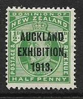 NEW ZEALAND 1913 ½d AUCKLAND INDUSTRIAL EXHIBITION SG 412 MOUNTED MINT Cat £22 - Unused Stamps