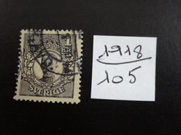 Suède 1918 - Gustave V   1k Noir S/jaune - Y.T. 105 - Oblitéré - Used - Gestempeld. - Oblitérés