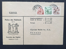 SWITZERLAND 1949 Cover Delémont To Bienne - `Police Des Habitants` - Brieven En Documenten
