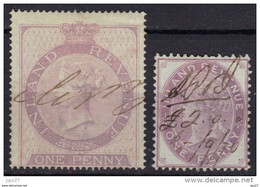Grande Bretagne Timbres Fiscaux Postaux N° 1, 5 (filigrane Ancre) - Fiscale Zegels