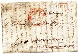 Cachet 12,rouge,TARTAS (39)L.A.C. Du 5/7/32,Port Payé. - 1801-1848: Vorläufer XIX