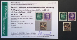 Zante 1943 Mi 1 I-3 I Postfrisch ** Brunel (Greece Grèce Italia Ionian Islands WW2 War Deutsche Besetzung 1939-1945 - Occupazione 1938 – 45