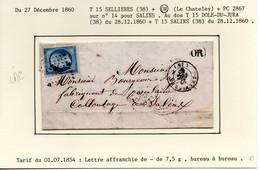 """JURA : T 15 SELLIERES + """"OR"""" + PC 2867 Sur N° 14 Sur LAC Du 27 Décembre 1860 - 1849-1876: Klassik"""
