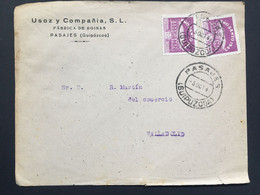 SPAIN 1943 Cover Pasajes To Valladolid Tied With Ano Santo 1943 Stamps - 1931-50 Cartas