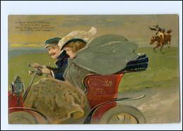 Y10135/ Auto Und Pferd Sschöne Litho Präge Ak 1907 - Non Classificati