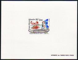 Saint Pierre Et Miquelon épreuves De Luxe N°527 2f50 Canoë Micmac épreuve De Luxe - Sin Dentar, Pruebas De Impresión Y Variedades