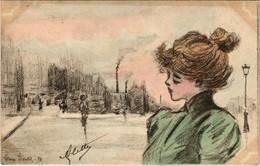 PC CPA HENRI BOUTET, ARTIST SIGNED, LADY IN THE CITY, ART NOUVEAU, 93 (b15511) - Boutet