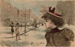 PC CPA HENRI BOUTET LADY CROSSING THE STREET ART NOUVEAU 94 (b15506) - Boutet