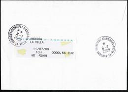 ANDORRE LA VIEILLE Taxe Poste Restante Réglementaire Par étiquette Guichet Sur Lettre Mayotte MTZAMBORO 30-6-2009 TTB - Storia Postale