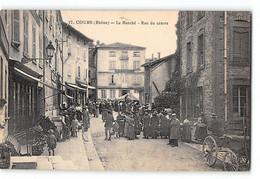 CPA 69 Cours Le Marché Rue Du Centre - Cours-la-Ville