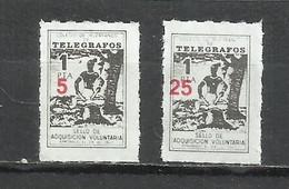 952-COLEGIO DE HUERFANOS DE TELEGRAFOS,CORREOS FISCALES SOBRECARGA DIFERENTE 2 HABILITACIONES NUEVO VALOR DISTINTAS 5 Y - Wohlfahrtsmarken