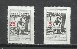 954-COLEGIO DE HUERFANOS DE TELEGRAFOS,CORREOS FISCALES SOBRECARGA DIFERENTE 2 HABILITACIONES NUEVO VALOR DISTINTAS 5 Y - Wohlfahrtsmarken