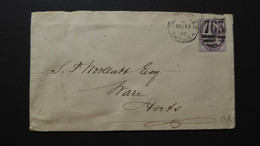 GREAT BRITAIN QV COVER POSTMARK  SWANSEA 763 / WARE 1890 - Postmark Collection