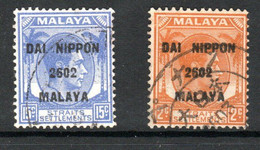 Japanese Occupation Of Malaya - Straits Settlements - 1942 - 2c Orange & 15c Blue SGJ224 & J227 - VFU Cat £17.60 SG2020 - Japanese Occupation
