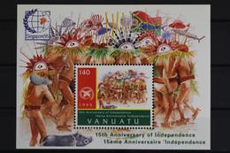 Vanuatu, MiNr. Block 24, UNO, 15 Jahre Unabhängigkeit, Postfrisch / MNH - Vanuatu (1980-...)