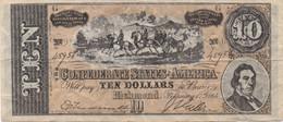 Confederates Of America : 10 Dollars 1864 - Confederate (1861-1864)