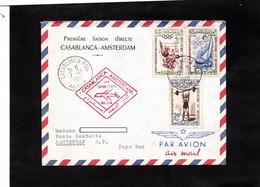 LSC 1960 - Première Liaison Directe CASABLANCA - AMSTERDAM / Cachet Casablanca Sur YT 413 & YT 416 & YT 419 - Marokko (1956-...)