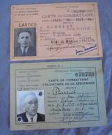 CARTE DE COMBATTANT VOLONTAIRE DE LA RESISTANCE & CARTE DU COMBATTANT LANDES WW2 - Documents