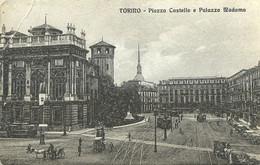 """9511""""TORINO-PIAZZA CASTELLO E PALAZZO MADAMA""""ANIMATA-TRAMWAY-VERA FOTOGRAFIA-CARTOLINA NON SPEDITA - Places"""