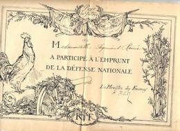 2 Diplome Participation Emprunt Defense Nationale - 1900 – 1949