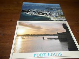 56    Port Louis Lot 2 Cartes TBE écrites  Remparts Et Ville+ Citadelle Coucher De Soleil - Port Louis
