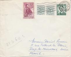 BELGIQUE AFFRANCHISSEMENT COMPOSE SUR LETTRE POUR LA FRANCE 1960 - Belgium