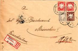 Bayern 1907, 2+3+Paar 10 Pf. Auf Orts-Reko Brief V. München 1 Rersidenzstrasse - Bayern (Baviera)