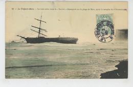 """BATEAUX - RUSSIE - RUSSIA - LE TREPORT MERS - Le Trois Mâts Le """"SALUTO """" Désemparé Sur La Plage De Mers Après La Tempête - Sailing Vessels"""