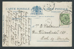 Postkaart Met Stempel Bruxelles Départ 5.8.1909 - Other