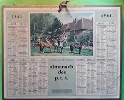 Calendrier Almanach Des Postes 1961 Du CANTAL Carte Plan Aurillac  , Illustré Promenade à CHEVAL , Ed Oberthur TB - Calendari