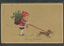 19286 Jeune Garçon Sur Ski Tiré Par Un Petit Chien (teckel-dachshund) - 1900-1949
