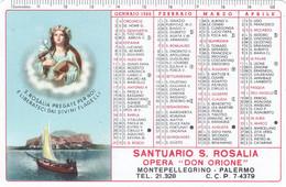 Calendarietto Tascabile Santuario S.rosalia - Anno 1960 - Calendari