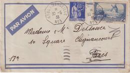 """FRANCE : BATEAU AVION . """" KOBE A MARSEILLE N° 3 """" . AFFrt A 2.65 F . POUR PARIS . 1938 . - Luchtpost"""