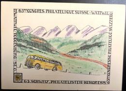 Schweiz 1953: 63.KONGRESS D.VERBANDES SCHWEIZ.PHILATELISTEN WATTWIL 27.VI.53 AUTOMOBIL-POSTBUREAU 28.V.53 - Bus