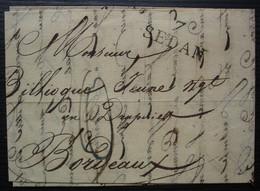 Sedan 1825 (Ardennes) Marque 7 / SEDAN 27 X 12 Sur Lettre Pour Bordeaux - 1801-1848: Precursores XIX