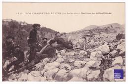 TBE Jolie Carte Postale Ancienne 1910 Chasseurs Alpins - Diables Bleu - Section De Mitrailleuse Ed. Giletta Nice D1-232 - Regiments