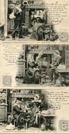 Lot De 3 CPA - Karten Bost - Les Chansons De Botrel Illustrées - Le Fil Cassé  (dos Non Divisé) - Non Classés