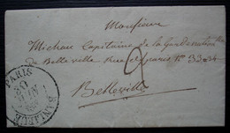 Paris Banlieue 1832 Lettre Pour Le Capitaine De La Garde Nationale De Belleville - 1801-1848: Precursores XIX