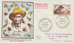 FDC FRANCE N° Yvert 1055 (FABRE) Obl Sp 1er Jour (Devant De FDC) - 1950-1959