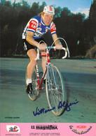 CARTE CYCLISME VITTORIO ALGERI SIGNEE TEAM MAGNIFLEX 1980 GRAND FORMAT 21 X 30 - Radsport