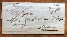 LOMBARDO VENETO - ERBA 29 AGO SU LETTERA PER L'ESTERO  - DOPPIA TASSAZIONE E RETRO LOCARNO 30 AGO 1853 - 1. ...-1850 Prefilatelia