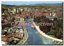 CPSM Annecy Haute Savoie Vue Aerienne Le Canal Et La Ville La Gauche Le Chateau Des Ducs De Nemours - Annecy