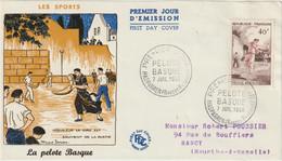 FDC FRANCE N° Yvert 1073 (PELOTE BASQUE) Obl Sp 1er Jour (Devant De FDC) - 1950-1959