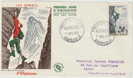 FDC FRANCE N° Yvert 1075 (ALPINISME) Obl Sp 1er Jour (Devant De FDC) - 1950-1959