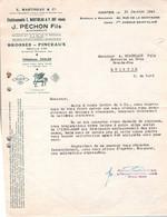 Facture - Manufacture De BROSSES BALAIS & Pinceaux - Ets J.PECHON Fils - NANTES - 1945 - Altri