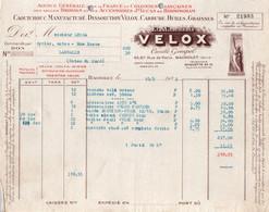 """Facture - Fournisseur HUILES & GRAISSES - Ets """"VELOX"""" - BAGNOLET - 1932 - Automovilismo"""