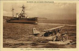 """Marine De Guerre Française , Croiseur """" Tourville """" Et Son Hydravion - Krieg"""